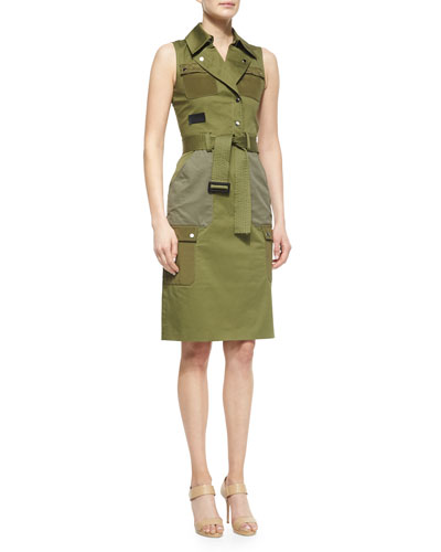 Pocket-Detailed Belted Utility Dress