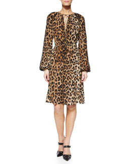 Sasa Leopard-Print Peasant Dress