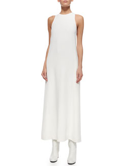Sleeveless Back-Pleated Cady Dress