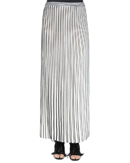Pleated Long Knit Skirt