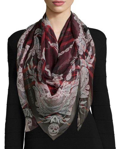 Plaid Silk Skull-Print Shawl, Burgundy