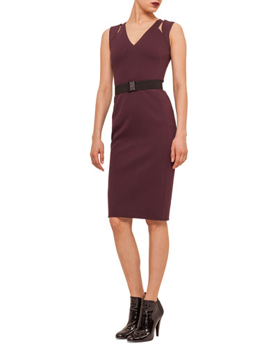 Slit-Shoulder Jersey Sheath Dress
