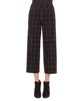 High-Waisted Windowpane Check Culottes