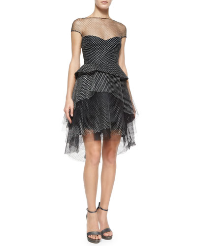 Metallic Tulle Peplum Tiered Dress