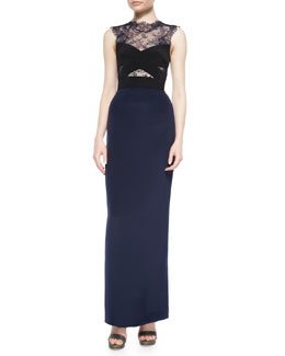 Crisscross Lace-Illlusion Column Gown