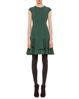 Seam-Paneled Jersey Flounce Dress