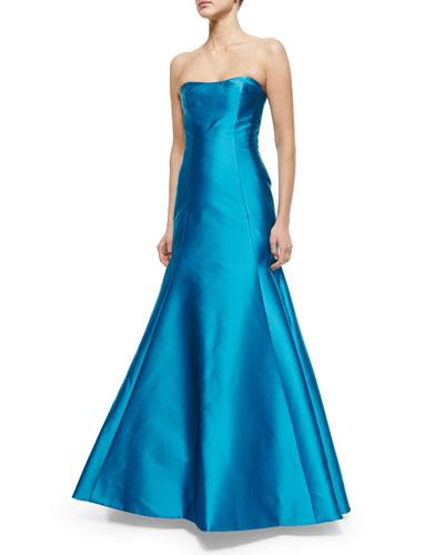 Strapless Mikado Gown, Ocean Blue