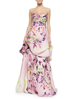 Strapless Bird-Print Draped Ball Gown