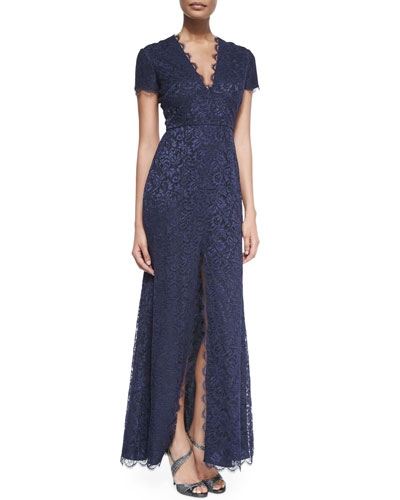Short-Sleeve Chantilly Lace Gown