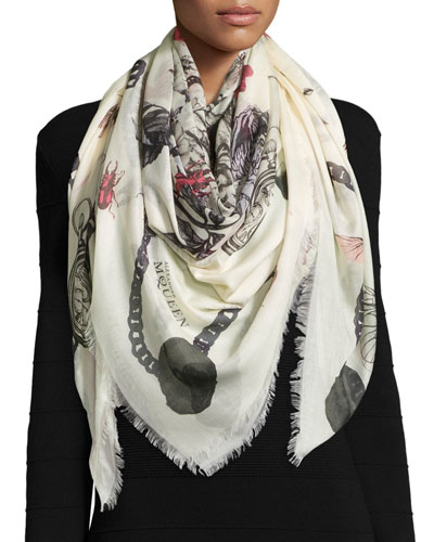Modal/Silk-Blend Treasure Skull Shawl, White
