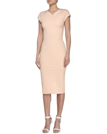 Heart-Seamed Thick-Knit Sheath Dress