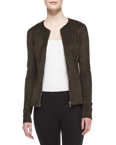 Suede Zip-Front Peplum Jacket
