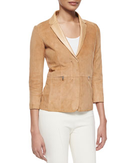 Suede Notched-Collar Zip-Front Jacket