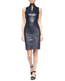 Split-Collar Leather Sheath Dress