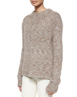 Knit Tweed High-Neck Sweater