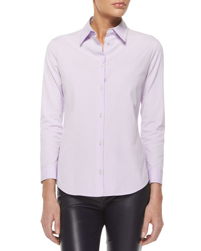 Three-Quarter-Sleeve Fitted Button Blouse