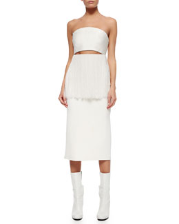 Strapless Cutout Fringe-Trimmed Dress