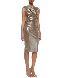 Honeycomb Frosted Draped Jersey Sheath Dress