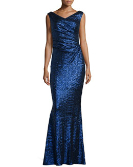 Colophony Sequined Draped Mermaid Gown