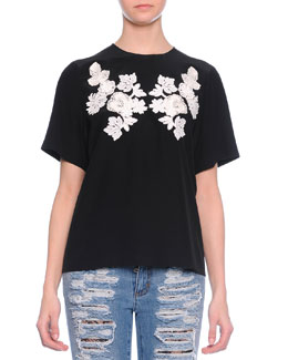 Lace Applique Jersey Tee