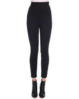 High-Waist Stretch Wool Leggings, Black