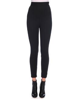 High-Waist Stretch Wool Leggings, Black