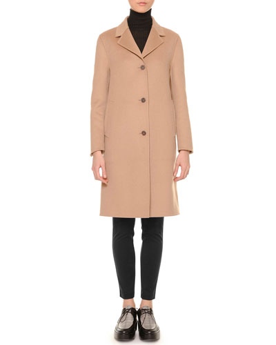 Cashmere-Blend Three-Button Coat