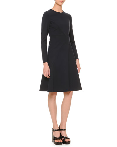 Long-Sleeve Paneled Swing Dress, Navy