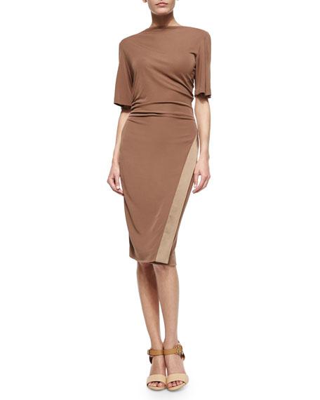 Contrast-Trimmed Cowl-Neck Dress