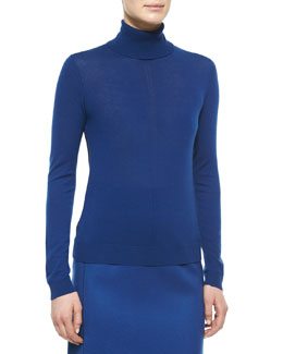 Cashmere-Blend Paneled Turtleneck Sweater