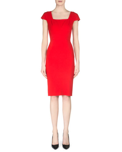 Jeddler Tuck-Pleated Crepe Sheath Dress