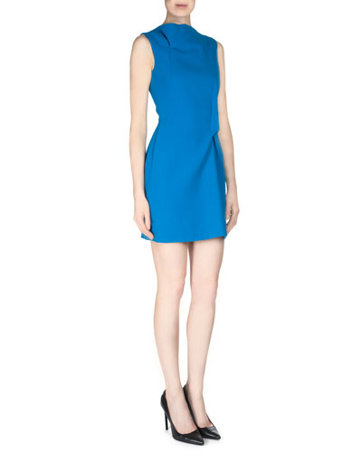 Zonda Crepe Fold-Pleated Sheath Dress
