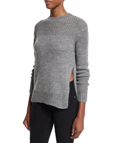 Ludlow Knit Side-Split Sweater, Light Gray