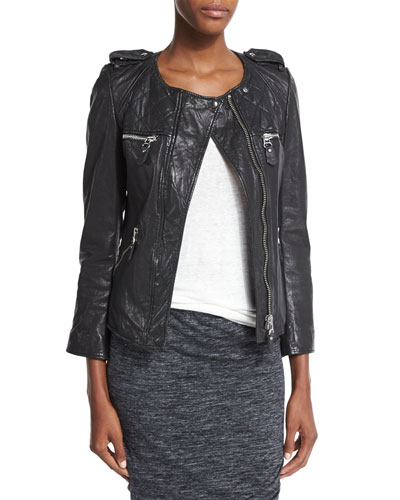 Kady Quilted Leather Moto Jacket
