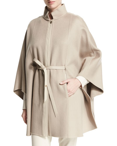 Vendome Belted Cashmere Cape, Gold Pepper