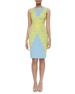 Scalloped French Lace Overlay Sheath Dress