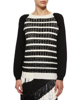 Stitch-Striped Fringe Trimmed Sweater