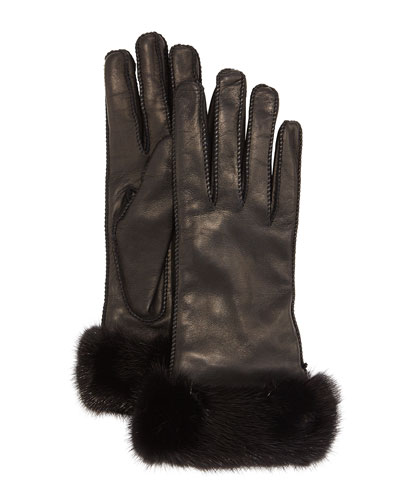 Jaqueline Mink-Trimmed Leather Gloves, Black