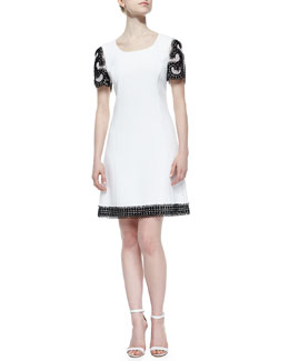 Crepe Short-Sleeve Dress w/Passementerie, White/Black