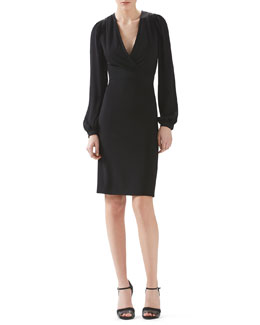 Stretch Viscose Jersey And Silk V-Neck Dress