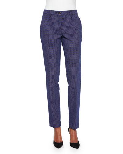 Medallion Jacquard Slim-Fit Pants
