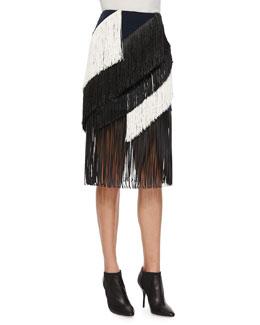 Asymmetric Tiered Fringe Skirt