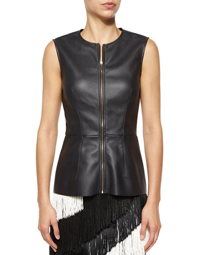 Faux-Leather Zip Peplum Top