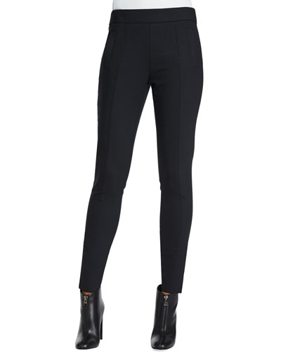Stretch Wool-Blend Slim-Fit Pants, Ink Black