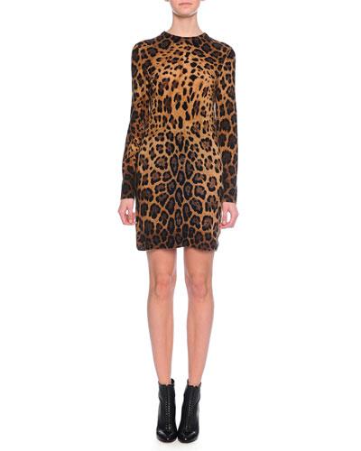 Long-Sleeve Cashmere Leopard-Print Knit Dress