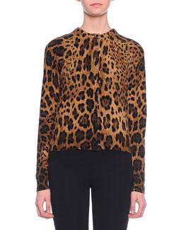 Leopard-Print Cashmere Knit Cardigan