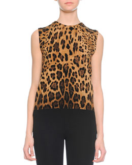 Cashmere Leopard-Print Underpinning Top