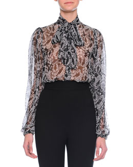 Mimosa Tie-Neck Floral-Print Blouse