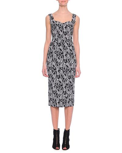 Floral Paisley-Print Sweetheart Midi Dress