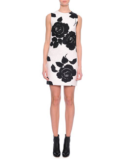 Floral-Print Shift Dress, Black/White